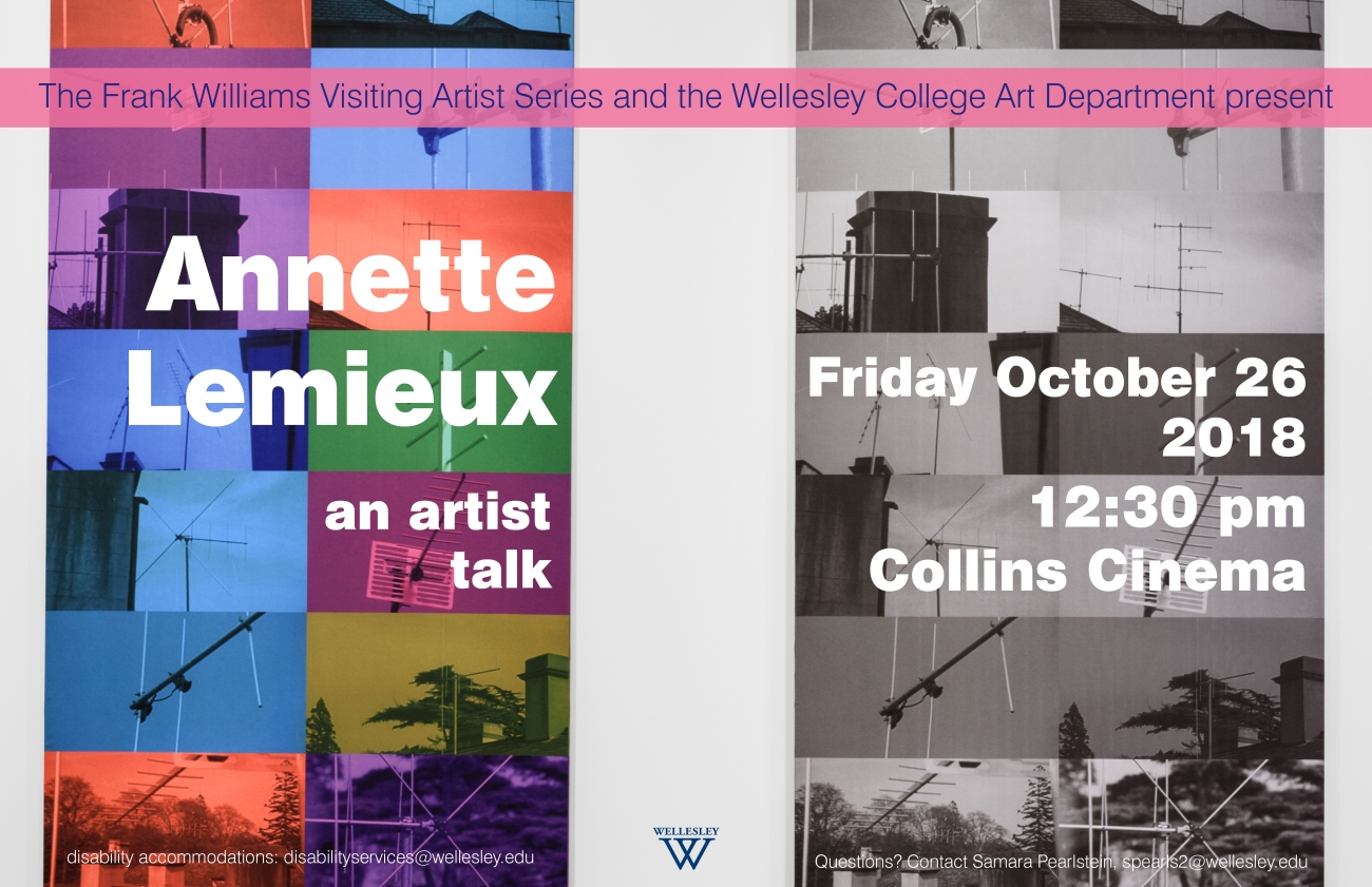 poster for Annette Lemieux talk showing multicolored photo collage on left, grayscale photo collage on right