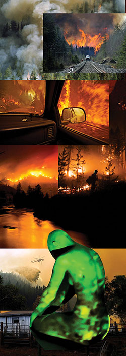 composite image of forest fires with seated figure with green light projected onto body
