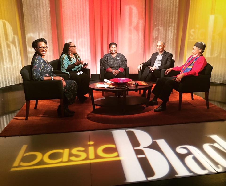 Professor Nikki Greene with other panelists on the set of WGBH's Basic Black