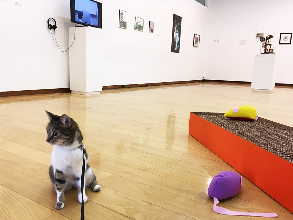 cat on a leash next to sculpture in the Jewett Art Gallery