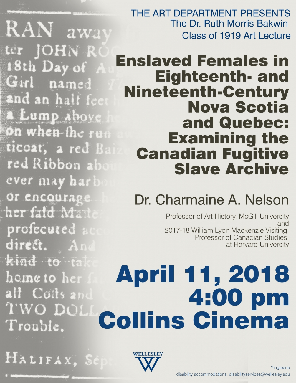Bakwin lecture poster with grayed out old style text on left