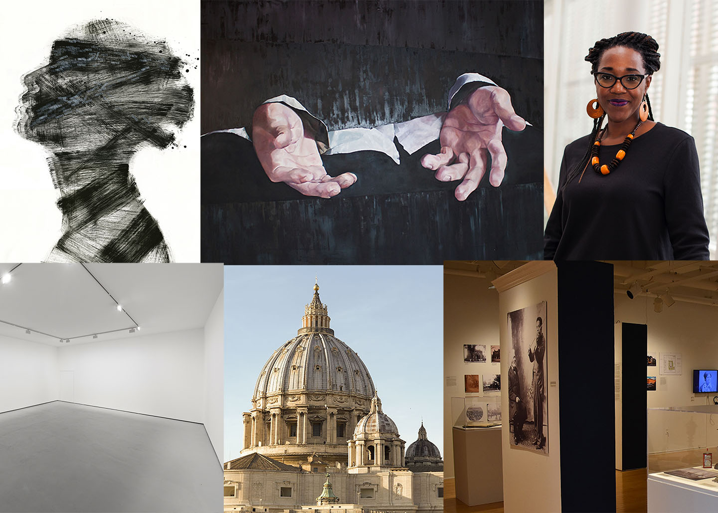 collage of images: woman in profile made up of black ink marks; painting of two hands with black background; head shot of Nikki Greene; empty gallery space; photo of St. Peter's Basilica dome; photo of gallery exhibition