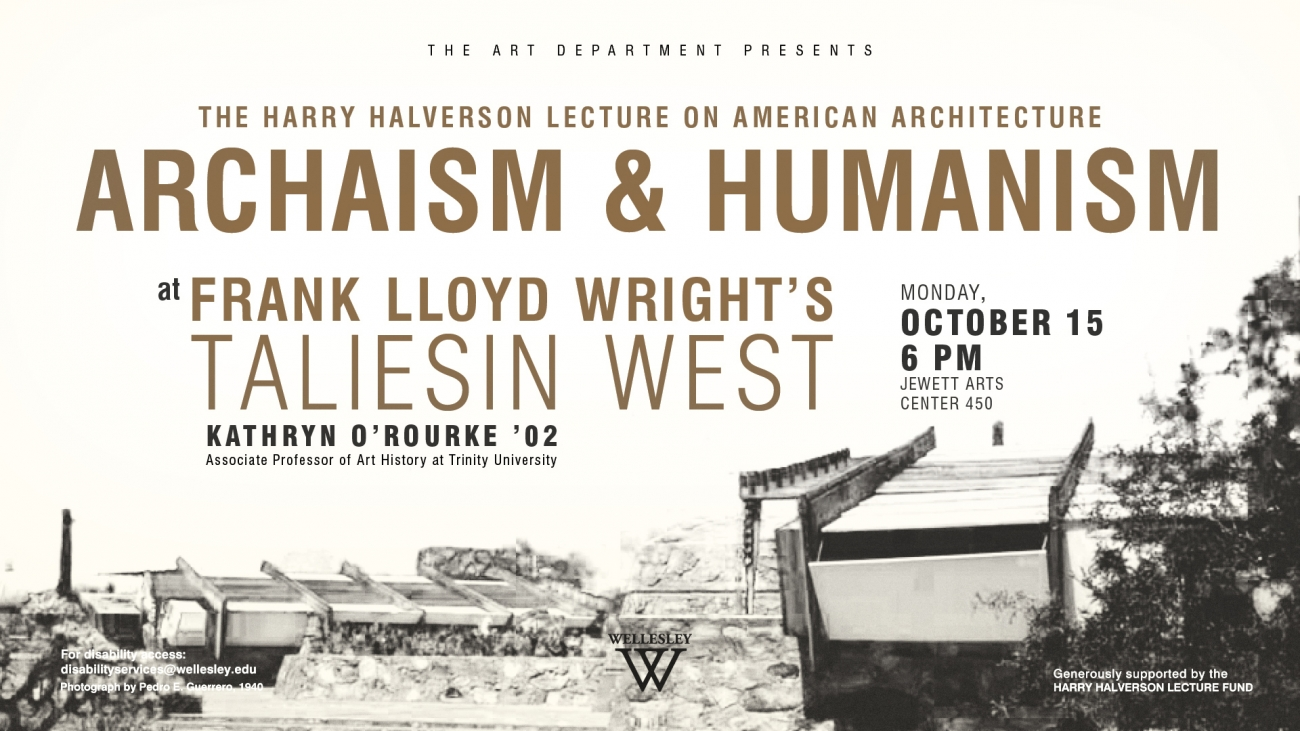 sepia and white poster for Archaism & Humanism Taliesin West lecture