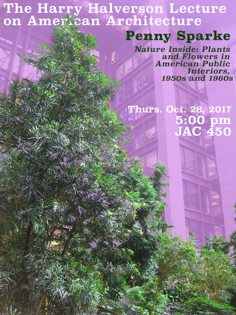Halverson poster showing large plant in building atrium