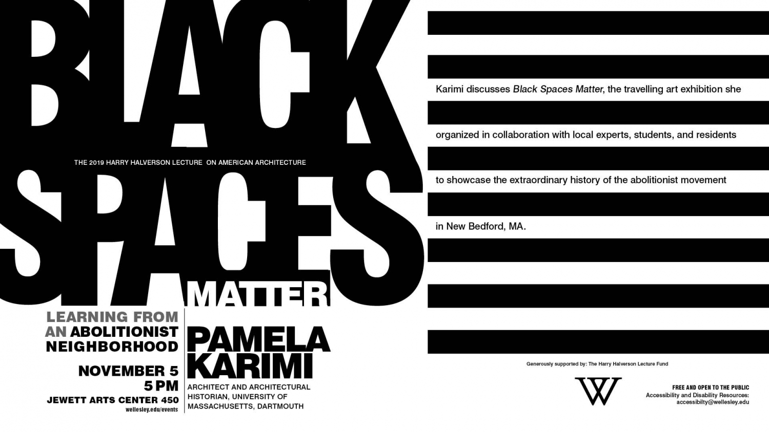 text-based poster for Black Spaces Matter lecture
