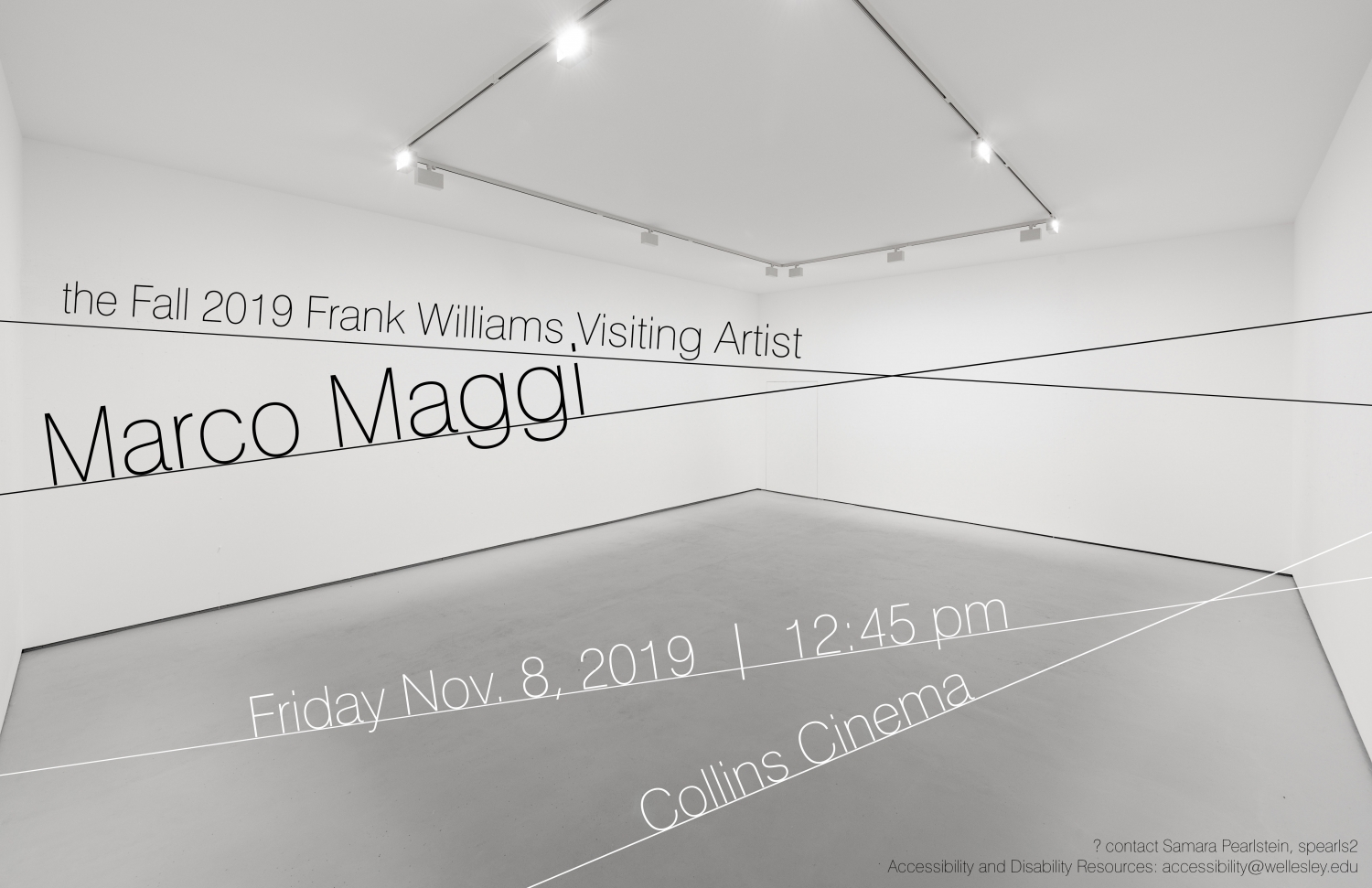 poster for Marco Maggi talk, empty-looking white box gallery space with text overlay