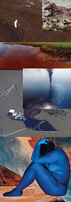 composite image of oil spills with seated figure with projected blue light on body