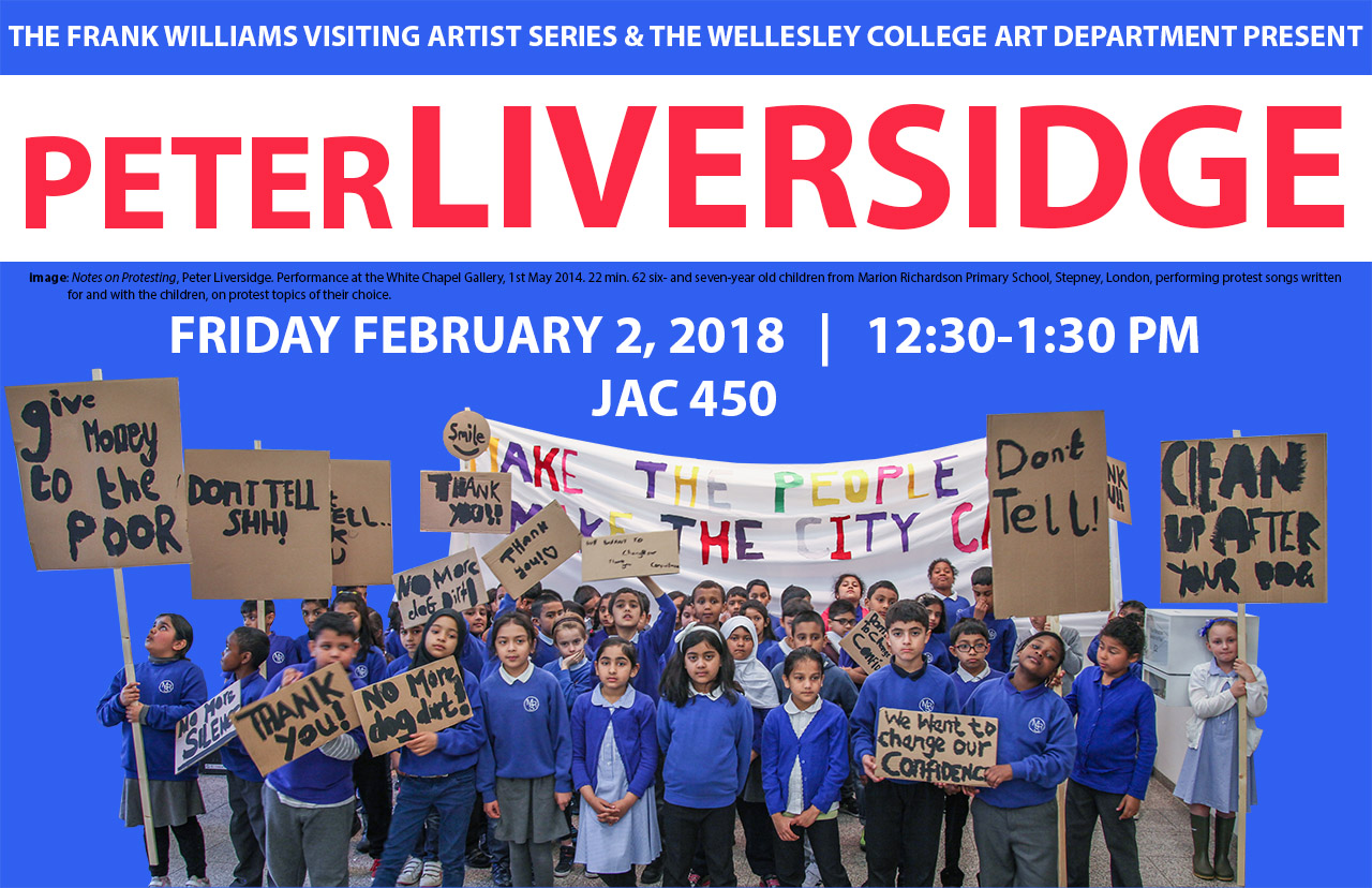 poster for Peter Liversidge talk, blue with image of children holding protest signs