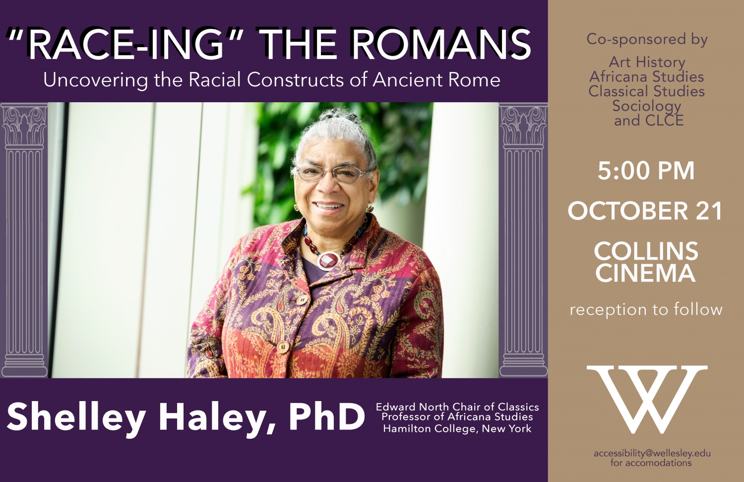 poster for Race-ing the Romans lecture featuring photo of Shelley Haley standing outside