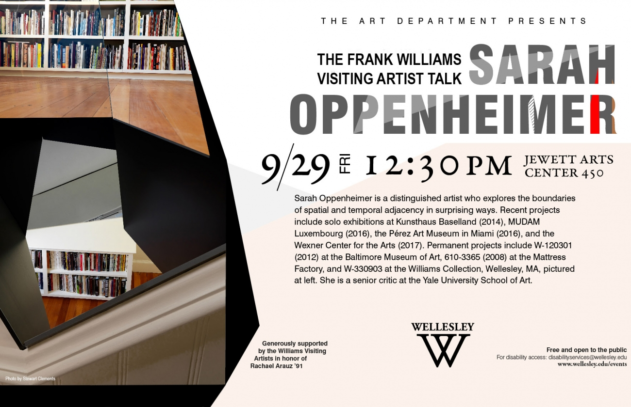 poster for Sarah Oppenheimer talk, featuring image of hole cut into floor and wall with bookshelves visible above and below