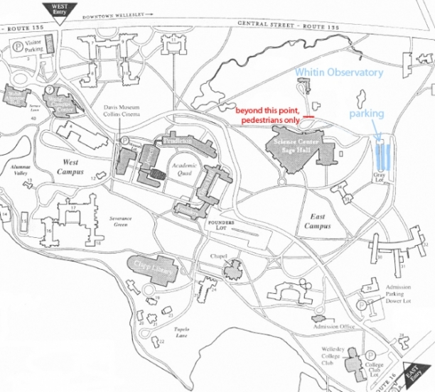 Campus Map with Parking Indicated