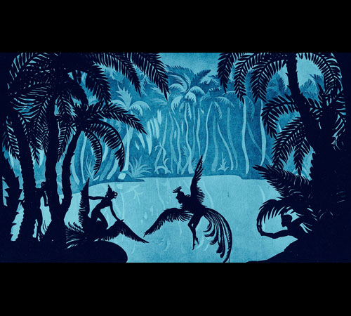screenshot from The Adventures of Prince Achmed, a blue and black cut paper fanciful jungle scene