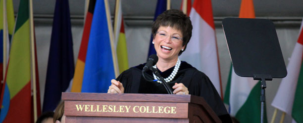 Valerie Jarrett delivering speech at Wellesley