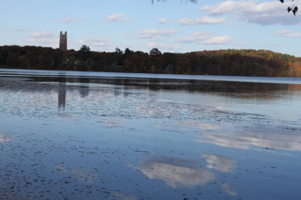 Wellesley College view of Lake Waban with Green Hall in Background