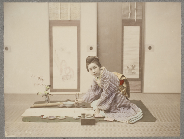 Woman Painting a Picture, 1865 - 75. Hand-colored albumen print, 8 1/8 x 10 5/8 in. Gift of the Wellesley College Art Department Slide Library, 1983.24.96
