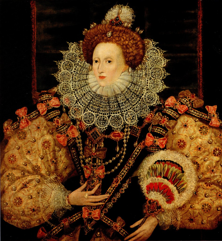 By or after George Gower, Portrait of Queen Elizabeth I (detail), ca. 1588. Oil on canvas. Private collection, Courtesy of Leicester Galleries, London