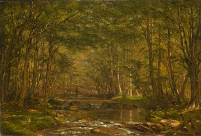 Worthington Whittredge, Trout Stream, ca. 1875. Oil on canvas. Gift of Marion Eddy Wheeler (Class of 1924), 1994.51