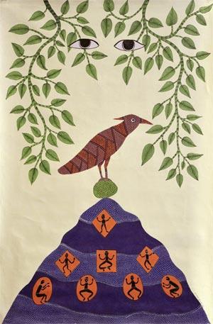 "Gond tribal artist Venkat Raman Singh Shyam, Death and the Woodpecker, 2002. Acrylic on canvas, 30¼"" x 45¾."