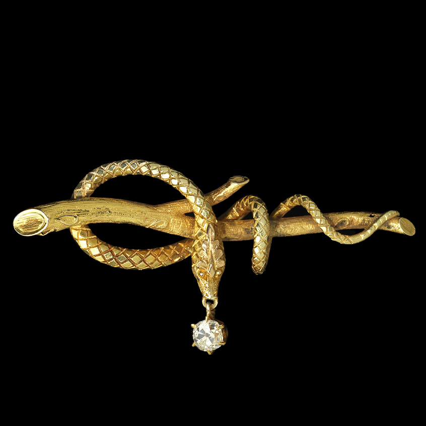 Serpent Pin, circa 1860. Designer unknown. Photo by John Bigelow Taylor