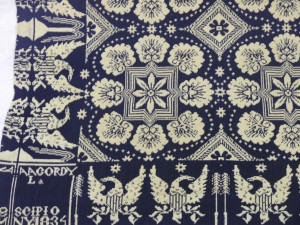 A.A. Gordy, Coverlet (detail), 1834. Wool with cotton warp, 80 in. x 76 in. Gift of Ernestine Beebower Innes (Class of 1933) for her Class and in honor of the Clarence A. Beebower Family, 1973.16