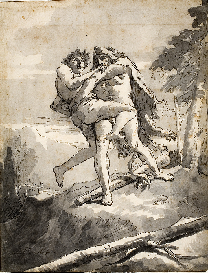 Giovanni Domenico Tiepolo, Hercules and Antaeus, late 18th century. Black pen and ink and black and gray washes with partial brown ink border, overall: 10 in. x 7 9/16 in. Gift of Mrs. Edyth Kumin Shulman (class of 1932) 1980.102.