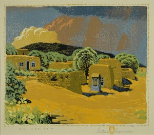 Gustave Baumann, Summer Rain, from progressive set to Summer Rain, ca. 1926. Color woodcut, 9 9/16 x 11 3/16 in. The Nancy Gray Sherrill, Class of 1954, Collection, 2003.24.2