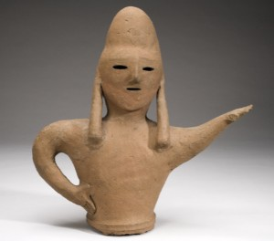 Unknown, Haniwa Tomb Figure of a Soldier, Late Kofun period 200-710. Earthenware (red pottery), overall: 17x15 in. Gift of Carol Herzman Fishman (Class of 1963) from the Collection of Stanley Herzman, 2006.79