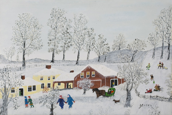 Grandma Moses, Yellow House, 1955. Oil on board, 12 in x 17 7/8 in. Gift of Jeannette Austin Hosch Osgood (Class of 1930), 1986.10