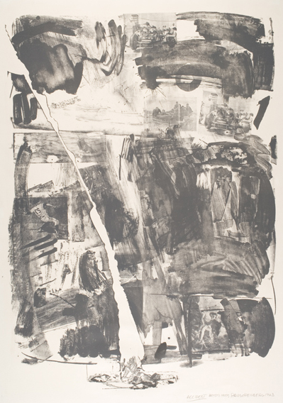 Robert Rauschenberg, Accident, 1963. Lithograph, 41 1/4 in x 29 1/4 in. The Nancy Gray Sherrill, Class of 1954, Collection, 2007.19