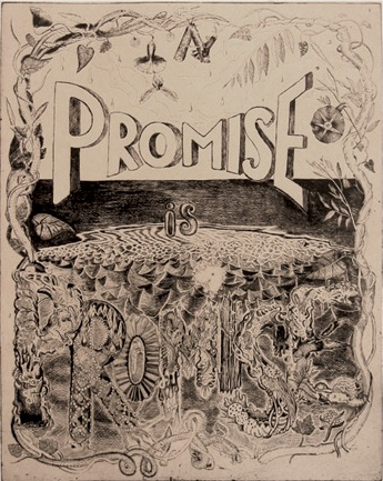 Samantha Simpson (b. 1968, Alberta, Canada), A Promise is a Promise, 2009. Etching with chine collé 20 x 16 in. (image); 28 x 23 in. (sheet) 9/40 Printed by James Stroud, assisted by James Mustin; Published by Center Street Studio, Milton, MA Museum purchase, Erna Bottigheimer Sands (Class of 1929) Art Acquisition Fund, 2010.102