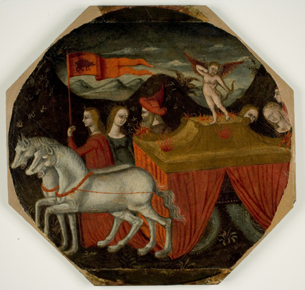 Florentine, Childbirth Tray (Desco da Parto) with The Triumph of Love, circa 1470. Tempera on panel, 18 3/4 in x 19 1/2 in (octagonal). Museum purchase in honor of Lilian Armstrong, Wellesley class of 1958 and professor emerita in the Art Department, through a generous gift from her Wellesley classmate, Phoebe Dent Weil (Class of 1958). 2008.590