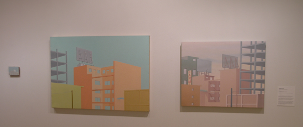 Francis Alÿs in collaboration with Juan García and Emilio Rivera, Cityscape, 1996-97. Oil on panel (4.5 x 6 inches) and enamel on galvanized steel (García, 36 x 51.5 inches; Rivera, 30 x 37.25 inches). Museum purchase with funds provided by Wellesley College Friends of Art, 2010.94.1-.3