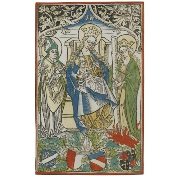 """Unknown (German, Augsburg School), The Madonna and Child between Saints Ulrich and Afra with Four Shields, ca. 1490s, printed ca. 1505-10. Woodcut with hand-coloring, 10 x 6 1/2"""". Museum purchase, The Class of 1947 Acquisition Fund, 2012.1"""