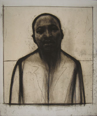 John Wilson, Martin Luther King, Jr., 2002. Etching and aquatint with chine collé, 36 x 30 in. (image & sheet). Edition of 50. Museum purchase, Erna Bottigheimer Sands (Class of 1929) Art Acquisition Fund, 2010.101