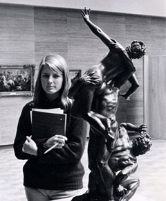 Photograph of a student studying Giambologna's Rape of a Sabine, from the original of ca. 1583. Bronze, height 23 in. Museum purchase, 1955.3