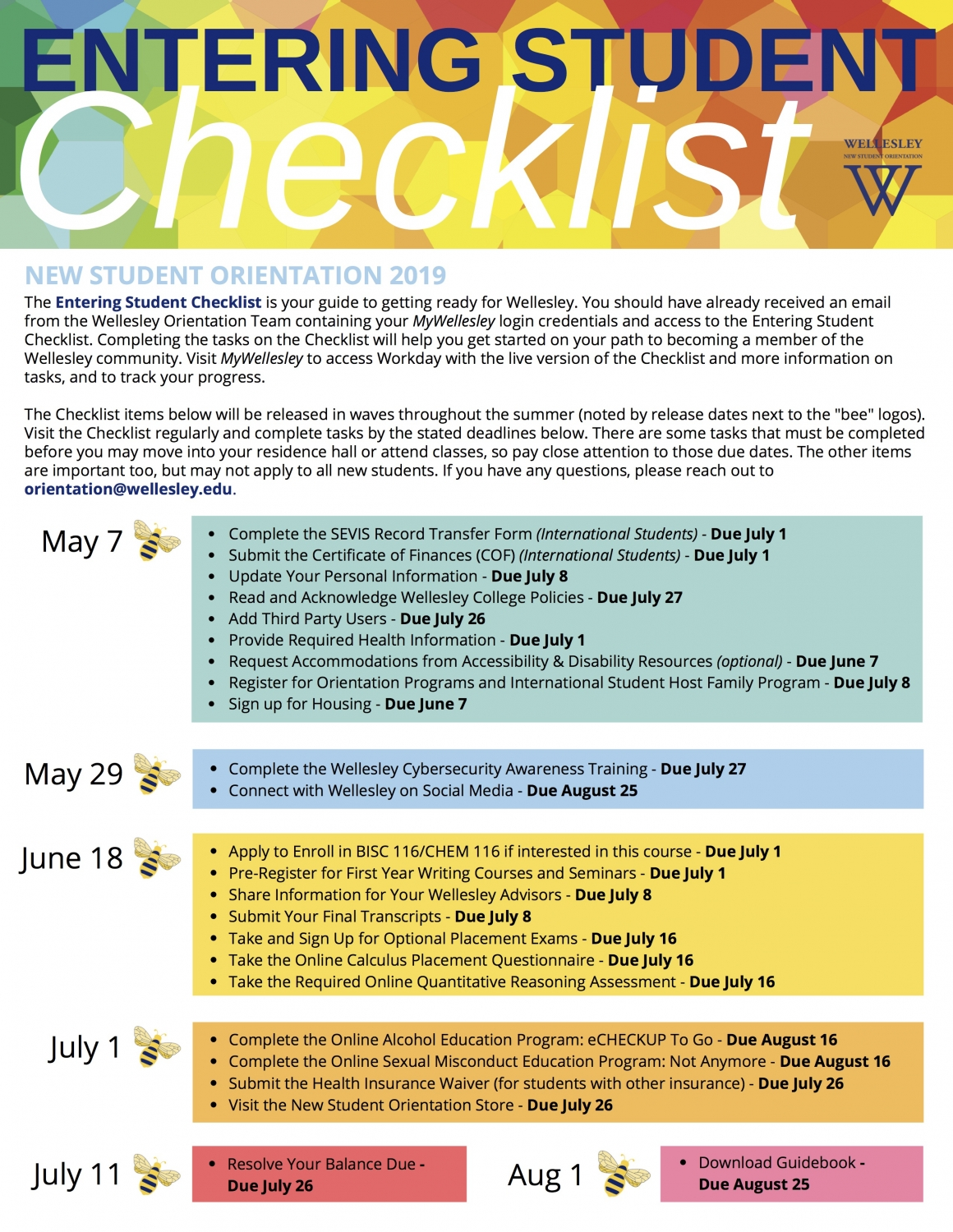 Entering Student Checklist | Wellesley College