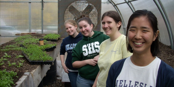 ES students in Natick Community Farm greenhouse