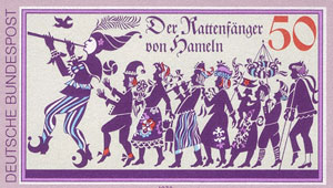german stamp showing pied piper of Hamelin