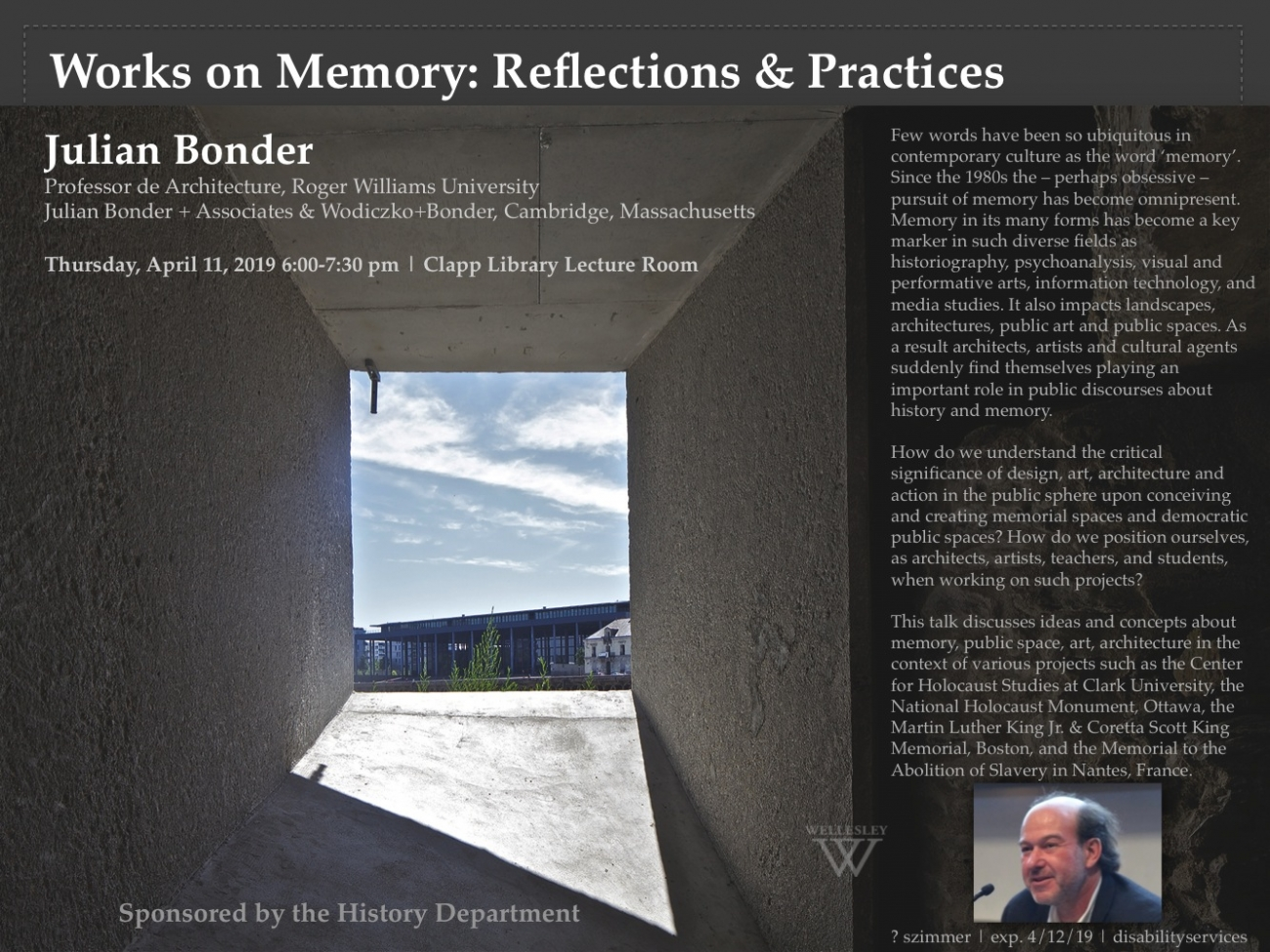 """Works on Memory: Reflections and Practices,"" lecture by Julian Bonder"