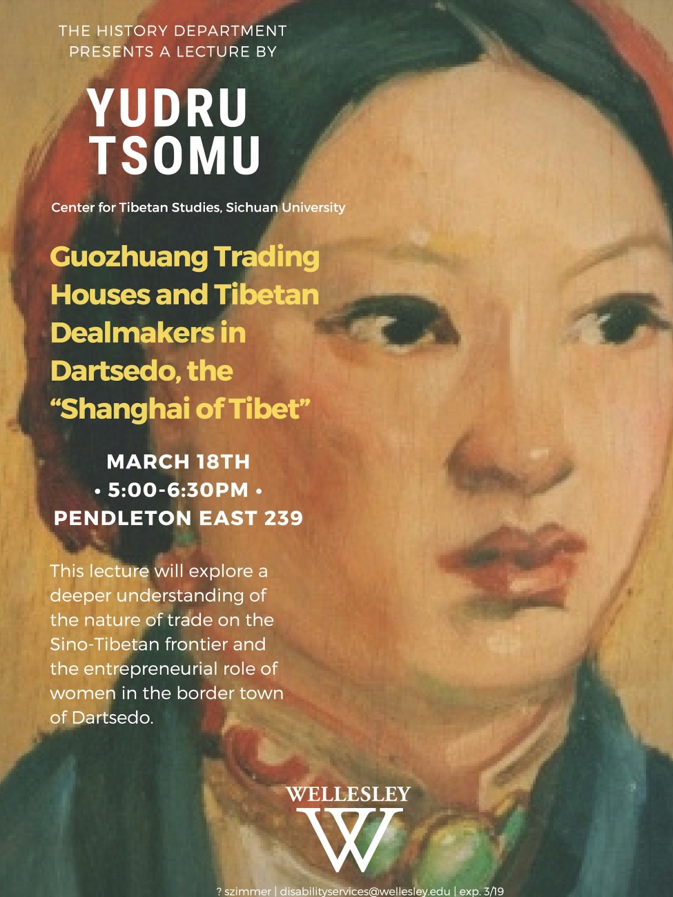 "Guozhuang Trading Houses and Tibetan Dealmakers in Dartsedo, the ""Shanghai of Tibet,"" lecture by Yudru Tsomu (March 18, 2019, 5:00pm in Pendleton East 239)"
