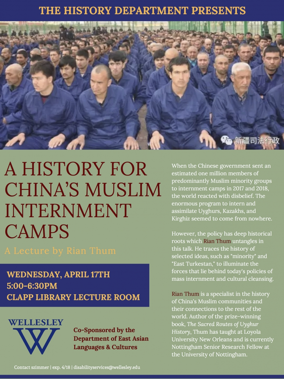 """A History for China's Muslim Internment Camps,"" lecture by Rian Thum (5:00pm, April 17, 2019 in Library Lecture Room)"