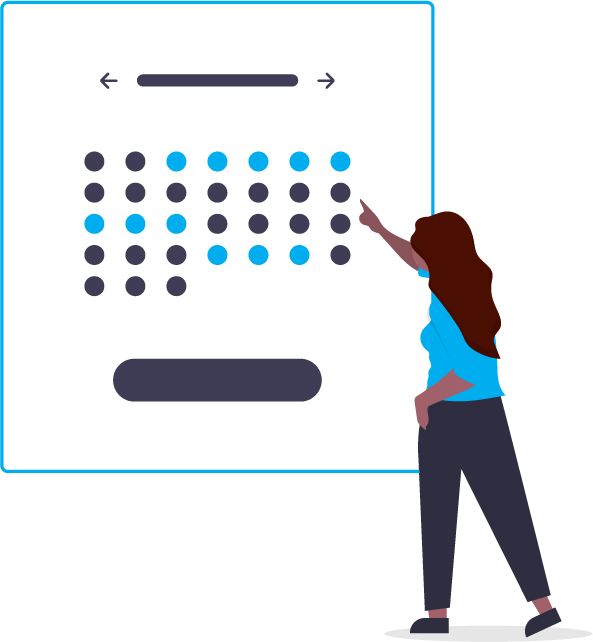 graphic of a woman pointing at a calendar