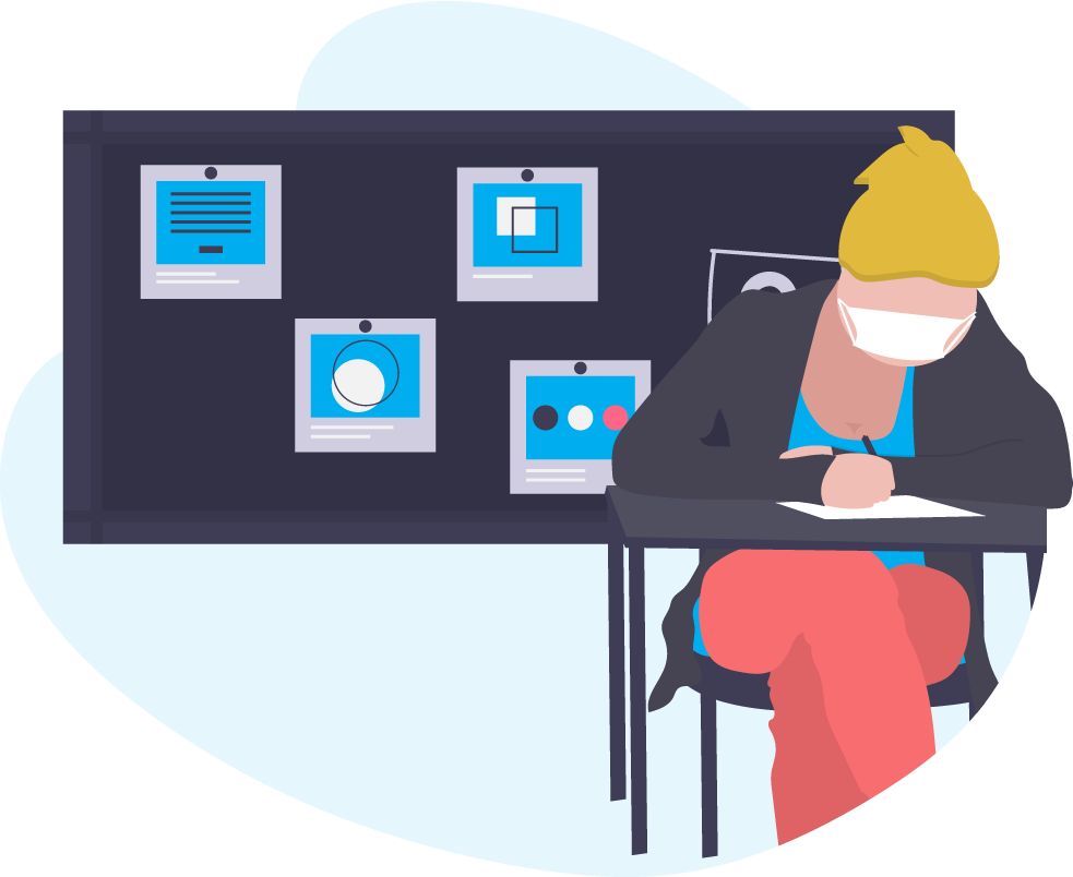 graphic of a student in a classroom