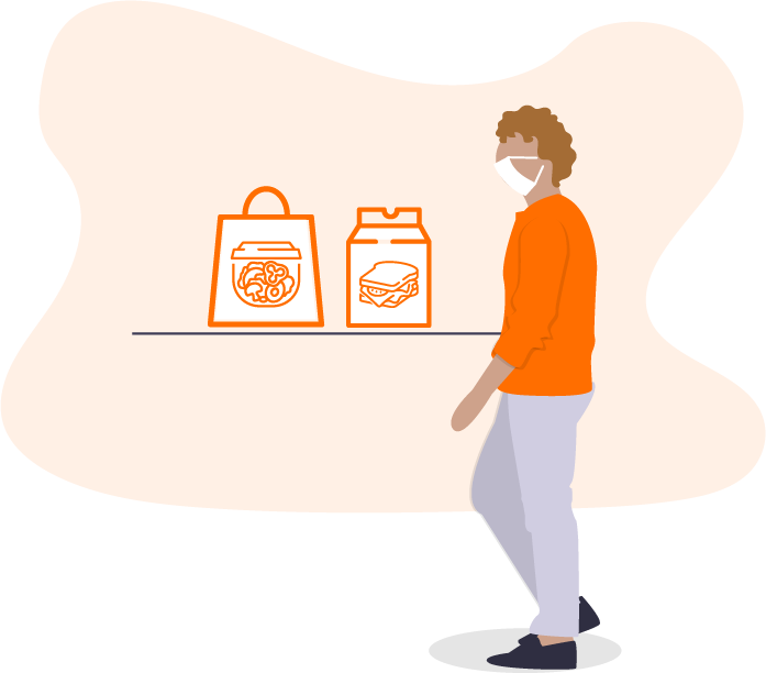 Graphic of a man with takeout bags