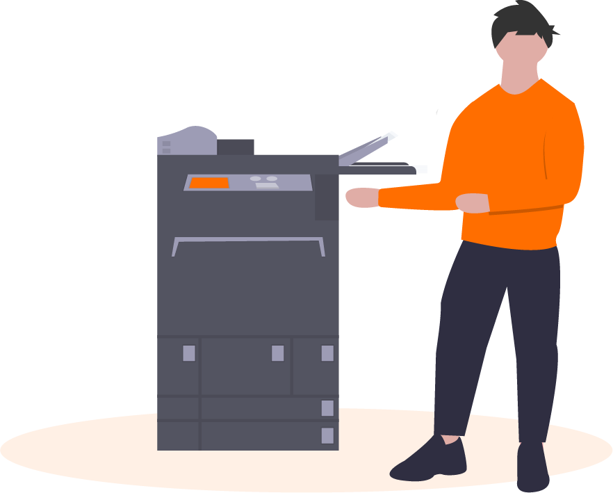 graphic of a person standing next to a printer
