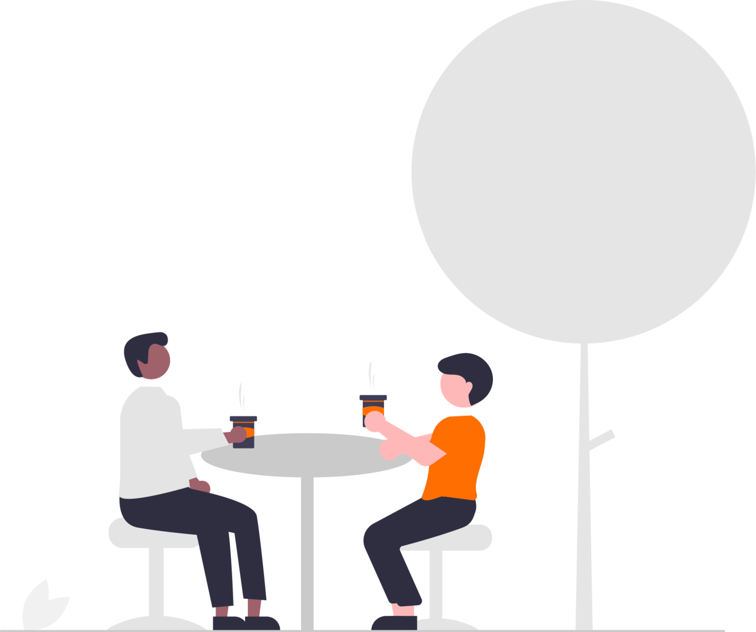 graphic of two people sitting outside at a table