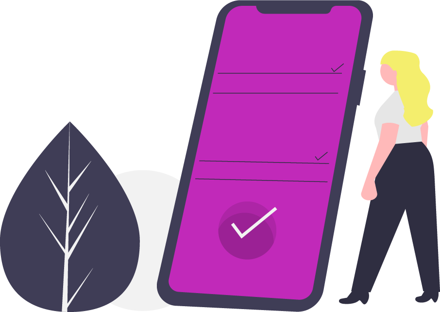 graphic of a woman standing by a cell phone