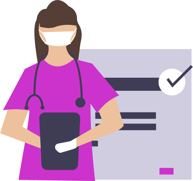 graphic of nurse with checked off paperwork