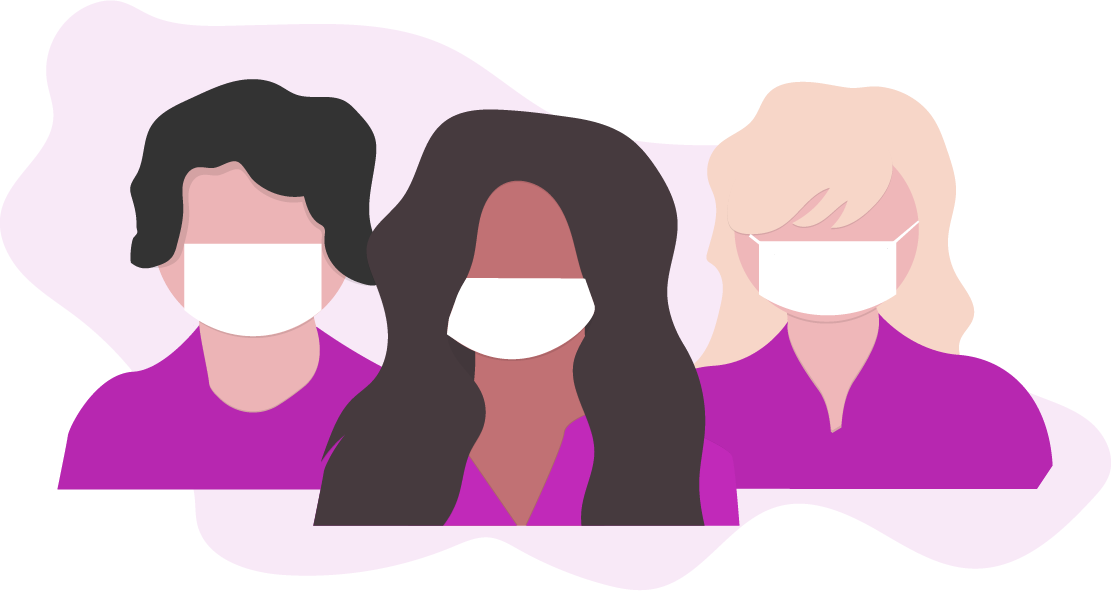 graphic of three women wearing masks over their noses and mouths