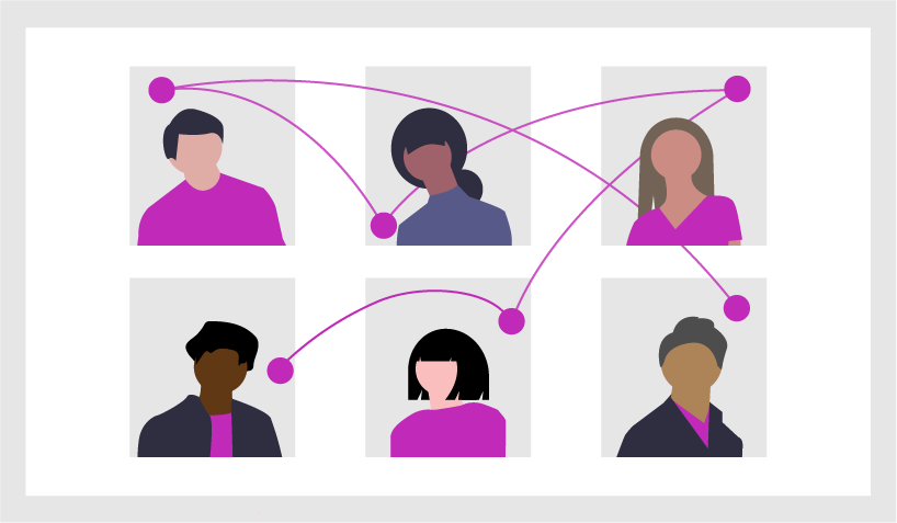graphic of six people with lines showing how they're connected
